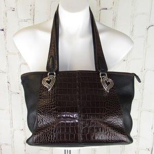 Brighton Moc Croc Pebbled Black Brown Purse Bag